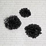 Lot de 3 Pompons Noirs en Papier de Soie par Lights4fun