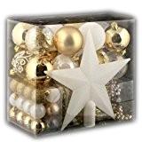 Lot déco Noël - Kit 44 pièces pour décoration sapin : Guirlandes, Boules et Cimier - Thème couleur : Blanc ...