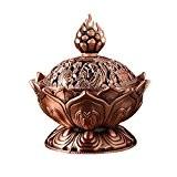 LQZ(TM) Brûle Encens Lotus Bouddha Encensoir Cône Brûleur Encens Fumée Alliage Décoration de Maison (Rouge)