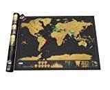 Luckies of London LUKSD Scratch Map Carte du monde à gratter Edition luxe Noir