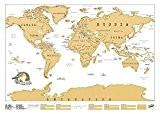 Luckies of London  USLUSCR Scratch Map Carte du monde à gratter Marron Clair 82.5 x 59.4 cm