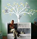 Luckkyy Sticker mural pour décoration de chambre d'enfant Motif grand arbre avec feuilles et trois koalas