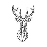 LUFA Géométrique géométrique cerf tête mur autocollant géométrie animal série 3D vinyle mur art décoration intérieure