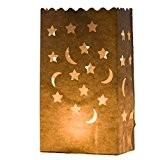 Lune & Etoiles 10 x Sacs à bougie papier lanterne lampe luminaire blanc - Décoration pour fêtes, mariages, anniversaires par ...