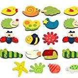 Lusee® Aimants Dessin Animé Colorés en Bois pour Enfants (Adorable Animaux)