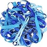 Luxbon-Ruban en Satin Organza Gros-Grain Imprimé Paillettes Blanches pour Artisanat DIY Cadeau Lot de 10pcs 2 Mètres (environ) Bleu 20 ...