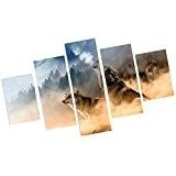 MagiDeal Impression Sur Toiles 5 Pièces Séparé Peinture Décor Tableau Mural pour Maison Bureau - Les loups, 20 * 30/40 ...