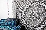 Mahira Sales Queen Mandala Noir et blanc Ombre Tapisserie murale, coton Tapisserie Boho hippie Tapisserie 213,4x 238,8cm