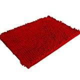 Malloom 50 * 80cm Doux Shaggy Non Dérapant Tapis De Bain Absorbant Tapis De Salle De Douche Tapis (Rouge)