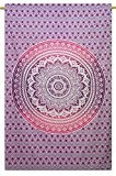 Mandala coton mur indienne Hanging Tapisserie Couvre-Lits Taille Blanc Throw 84X56 pouces