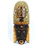 Masque Africain 30cm en bois décor Tortue sable et coquillages Cauris