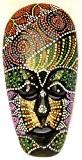 Masque Bois Ethnique Décoration Statue Africain Tribal Totem Aborigène Afrique 20 cm Peint