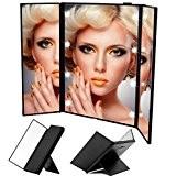 MAXPRETTY Miroir de maquillage portable 3 plis 8 LEDs pour la maison, le voyage ou le bureau (batterie incluse)