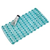 mdesign pas fin Tapis de bain antidérapant avec ventouses pour douche, baignoire–Bleu