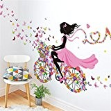 Meihuida Magic Fairy Bright Flower Heart-Shaped Garland Pink Dress Maid Wall Sticker For Girls' Room Decoration by Meihuida