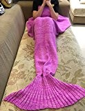 Mermaid Blanket, AIGUMI All Seasons Mermaid Blanket Tail Sleeping, crochet Artisanat Hot Lit Vivre Plafond Chambre pour les enfants (Fuchsia)