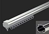 Mini-RAIL de Rideau - Fixations Plafond / Mur – Finition Blanc - 145cm