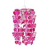 MiniSun Abat Jour Moderne Pour Suspension. Cadre en Acier Rose Décoré avec Papillons et Cœurs en Rose . Adapte Pour ...