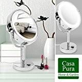 Miroir sur pied casa pura® avec LED | 3 degrés de grossissement au choix | 360° rotation, réglable en hauteur ...
