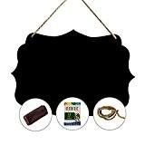 Miss board Mini Tableau Noir Mural Suspendu Créatif 20x23 CM Avec Ficelles, Chiffon et Craies (Style1)