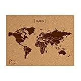 Miss Wood Woody Map Carte du monde en liège avec inscription My World Marron Format L