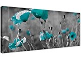 Modern Black and White Canvas Prints of Teal Poppies - Wide Turquoise Floral Wall Art - 1139 - Wallfillers® by ...