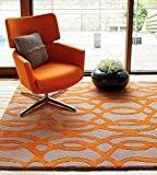 Moderne concepteur tapis 100% laine 200x300cm Tapis Maiden Fil Orange Orange