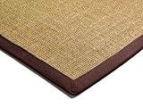 Moderne tapis Designer Bordé Sisal Tapis 200x300cm lin avec Chocolate Border Beige / Brown 100% sisal avec du coton à ...