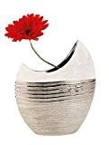Moderne Vase décoratif Vase en céramique Blanc/Argent Hauteur 23cm