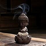 moine Bouddha en céramique Statue fumée Censer Coil Cônes d'encens Bois de santal support