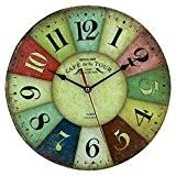 MultiWare Rétro Classique Ronde Horloge en Bois Pendule Murale Style Vintage Horloge avec Chiffres Décoration Maison