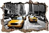 mur de New York Taxi Jaune percée en 3D look, mur ou format vignette de la porte: 92x62cm, stickers muraux, ...
