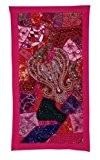 Murale décorative Designer Indien suspendu Tapisserie avec des paillettes Perles Graceful Miroirs, broderie Zari fil de soie & Patchwork Multicolore ...
