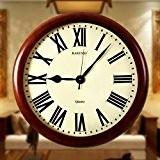 Mute continental vintage solide bois salon réveils/ horloge à quartz CIRculaire-A 20pouce