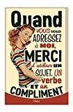 NATIVES 612200 Sujet/Verbe Compliment Plaque Métal Multicolore 20 x 30 x 2 cm