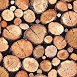Natural - 97710 - Rustic Stacked Wood Logs - Holden Decor Wallpaper by Statement
