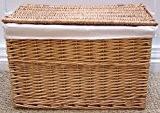 Natural Panier en osier doublé Paniers de rangement pour jouets ou linge de rangement Doublure Canne Taille S