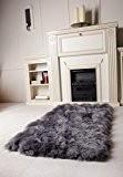 Naturasan design en peau de mouton tapis flokati plafond gris foncé, peau de mouton sCHAFFELLTEPPICH shaggy tapis gris foncé 70 ...