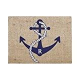 nautique Ancre personnalisé Initiale Monogramme Paillasson pour Home Decoratve Tapis de porte d'entrée pour le salon 60x 40cm