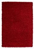 Nazar Moderne Tapis shaggy Uni Soft Synthétique Rouge 230 x 160 x 3 cm