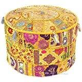 ndian brodé Patchwork Ottoman Pouf Ottoman décoratif indien Housse, sol, confortable, coussin en coton ottoman Pouf, motifs indiens ethniques Patchwork ...