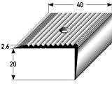 Nez de marche / cornière pour escaliers (20 mm x 40 mm) Aluminium anodisé, foré, couleur: argent