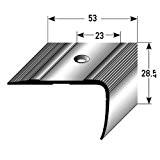 Nez de marche / Cornière pour escaliers (28,5 mm x 53 mm), aluminium anodisé, sans insert, foré, couleur: bronze clair