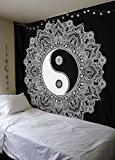 Noir et blanc Tapisserie, Yinyang Tapisserie murale, style mandala, indien traditionnel Coton Imprimé Bohème hippie Grande décoration murale par Sheetkart