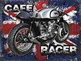Norton Café Racer sur l'Union Jack Arrière-plan Britannique Classique Rockers. Pour la maison, maison, garage, bar pub ou bar. Motocycle ...
