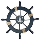 NUOLUX Méditerranéenne nautique en bois bateau navire roue barre Home décoration de mur Party (bleu foncé)