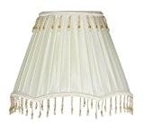 Oaks Lighting Abat-jour en imitation soie à bord festonné orné de perles Ivoire 25,4cm