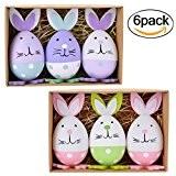 Oeufs de Pâques - Coxeer 6PCS lapin Pâques-oeufs de Pâques en forme de lapin ornements d'artisanat