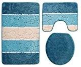 Orion Ensemble salle de bain 3pièces Turquoise 50x 80cm Bleu pétrole Tapis contour WC avec découpe pour WC