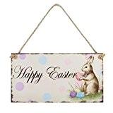 OULII Cadeau de Pâques Joyeux Pâques Plaque en bois lapin suspendus Plaque Festival mur porte décoratif signe Hanger Accueil décoration ...
